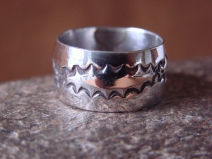 Navajo Indian Jewelry Sterling Silver Band Ring Size 9 by Cadman