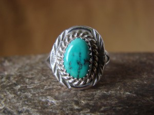 Native American Jewelry Sterling Silver Turquoise Ring! Size 8 F. Martinez