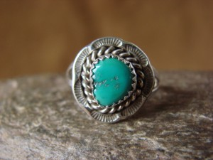 Native American Jewelry Sterling Silver Turquoise Ring! Size 8 1/2F. Martinez