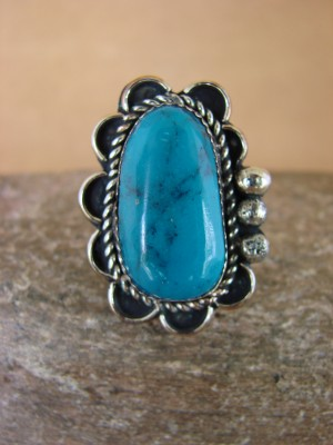 Navajo Indian Jewelry Nickel Silver Turquoise Ring Size 5, Glen Nez