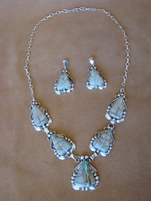 Navajo Indian Sterling Silver Boulder Turquoise Necklace and Earring Set
