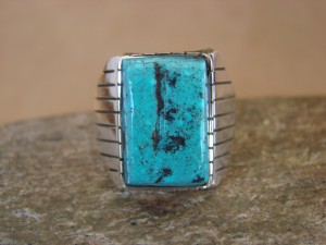 Native American Jewelry Sterling Silver Turquoise Men's Ring Size 12