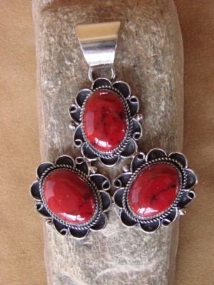 Native American Jewelry Nickel Silver Red Howlite Pendant Albert Cleveland