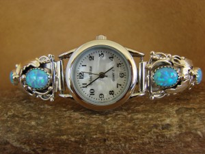 Native American Indian Jewelry Sterling Silver Opal  Lady's Watch