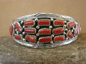 Native American Indian Sterling Silver Coral Cluster Bracelet