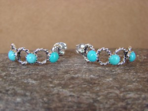 Native American Jewelry Sterling Silver Turquoise Rope Pattern Hoop Earrings! Navajo Indian
