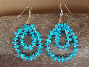 Navajo Indian Hand Beaded Heishi Shell Turquoise Earrings by Running Bear