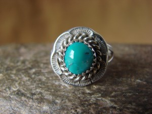 Native American Jewelry Sterling Silver Turquoise Ring! Size 7 F. Martinez