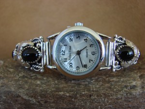 Native American Indian Jewelry Sterling Silver Onyx Lady's Watch