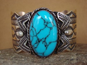 Navajo Indian Brass Turquoise Bracelet by Albert Cleveland!