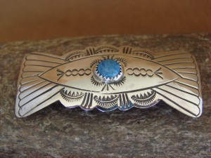 Native American Jewelry Hand Stamped Silver Denim Lapis Hair Barrette! Navajo Indian