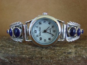 Native American Indian Jewelry Sterling Silver Lapis Lady's Watch
