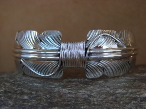 Navajo Indian Jewelry Sterling Silver Feather Bracelet by Aaron Davis