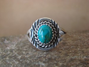 Navajo Indian Jewelry Sterling Silver Turquoise Ring Size 9.0