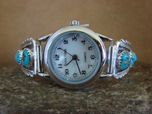 Native American Indian Jewelry Sterling Silver Turquoise Lady's Watch