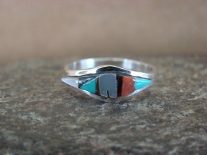 Zuni Indian Sterling Silver Multistone Inlay Ring by Malani Size 6