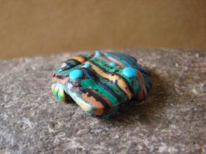 Zuni Indian Hand Carved Calsilica Frog Fetish by Reynold Lunasee