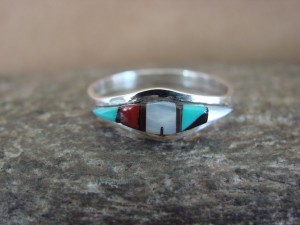 Zuni Indian Sterling Silver Multistone Inlay Ring by Malani Size 7 1/2