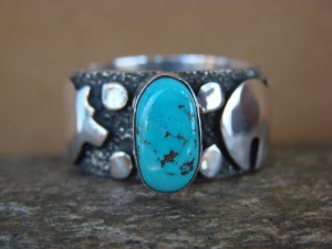 Native American Sterling Silver Turquoise Men's Ring by Alex Sanchez Size 11.5