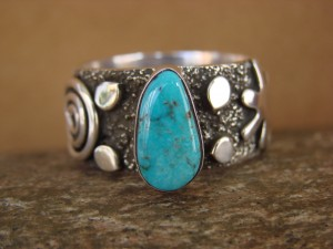 Native American Sterling Silver Turquoise Men's Ring by Alex Sanchez Size 12