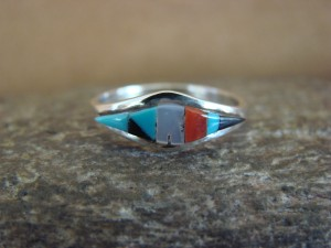 Zuni Indian Sterling Silver Multistone Inlay Ring by Malani Size 6 1/2