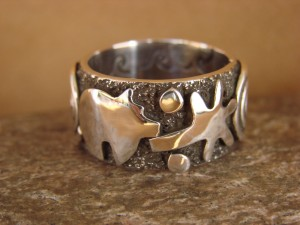 Native American Sterling Silver Men's Ring by Alex Sanchez Size 10