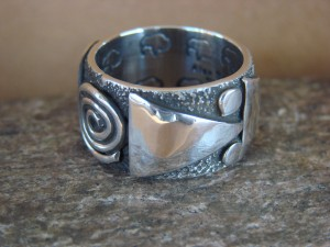 Native American Sterling Silver Men's Ring by Alex Sanchez Size 9 1/2