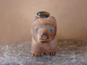 Zuni Indian Aromatic Cedar  Bear Fetish by Brandon Phillips! Native American