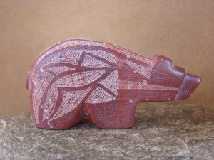 Zuni Indian Hand Carved Pipestone Bear Fetish by Brandon Phillips!