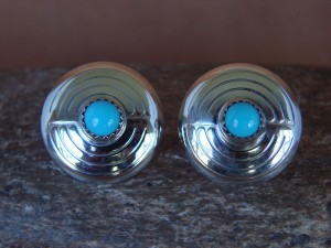 Native American Indian Jewelry Sterling Silver Turquoise Concho Post Earrings! Handmade