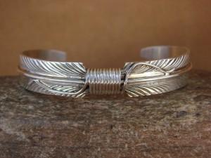 Navajo Indian Jewelry Sterling Silver Feather Bracelet by Douglas Etsitty!