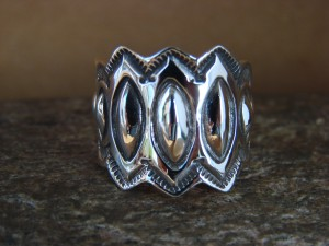 Native American Sterling Silver Stamped Ring by Alex Sanchez Size 8