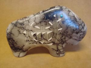 Native American Indian Pottery Horse Hair Buffalo Sculpture! Navajo