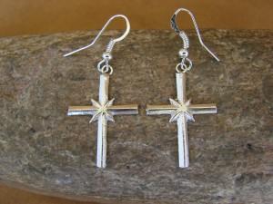 Native American Indian Jewelry Sterling Silver Cross Dangle Earrings!