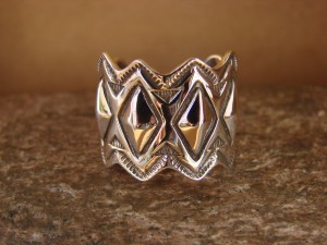 Native American Sterling Silver Stamped Ring by Alex Sanchez Size 9