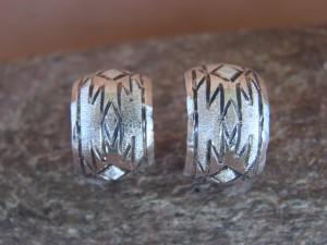 Native American Indian Jewelry Sterling Silver Hoop Earrings! By Tahe