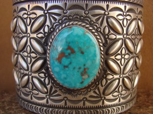 Native American Sterling Silver Kingman Turquoise Bracelet Herman Smith