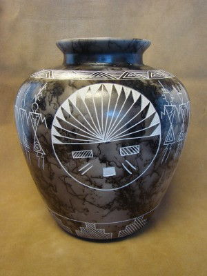 Native American Pottery Hand Etched Vase by Gary Yellow Corn! Acoma Pueblo