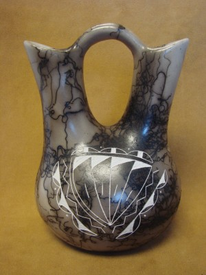 Navajo Indian Horse Hair Hand Wedding Vase by Vail! Native American Pottery