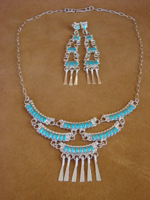 Zuni Indian Jewelry Turquoise Handmade Necklace Earring Set Lucy Shekya
