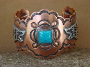Large Native American Jewelry Copper Turquoise Lobo Bracelet!