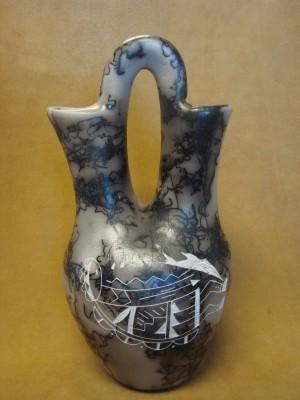 Navajo Indian Horse Hair Kokopelli Wedding Vase by Vail! Native American Pottery