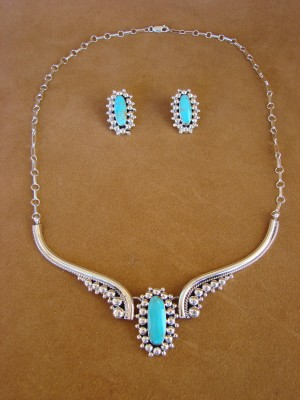Native American Jewelry Turquoise Sterling Silver Necklace by Running Bear