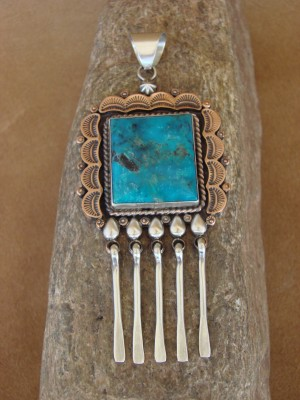 Native American Jewelry Stamped Copper Turquoise Pendant! Handmade