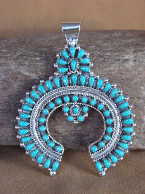 Navajo Indian Jewelry Handmade Turquoise Cluster Pendant by Mary Chavez