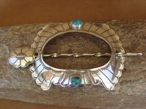 Native American Jewelry Stamped Silver Turquoise Hair Bun Stick! Navajo Indian 1