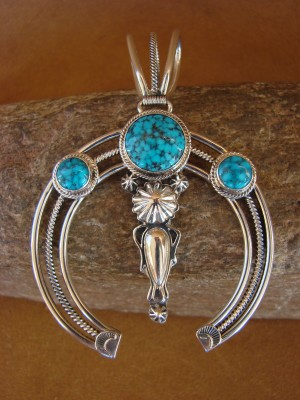 Navajo Indian Sterling Silver Turquoise Naja Pendant by Delagrito