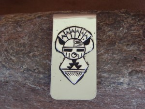 """Navajo Indian Jewelry Sunface Money Clip! Sterling Silver Men""""s"""