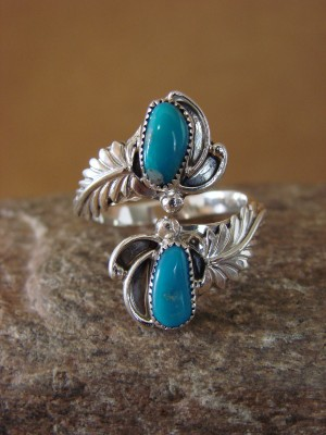 Native American Jewelry Sterling Silver Turquoise Adjustable Ring!