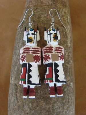 Navajo Indian Prairie Falcon Kachina Earrings! by Loretta Multine!